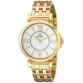 Bulova Women's Mother Of Pearl Dial Gold-Tone Stainless Steel Watch 97L133