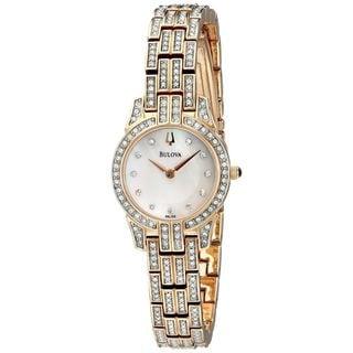 Bulova Women's 98L155 Crystal Rose-Tone Stainless Steel Watch