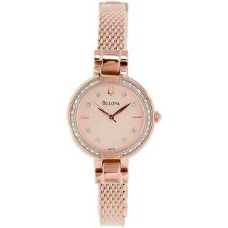 Bulova Women's 98R179 Diamond Rose-Tone Stainless Steel Watch