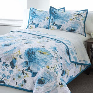 Blue Floral Reversible 100-percent Cotton 3-piece Quilt Set