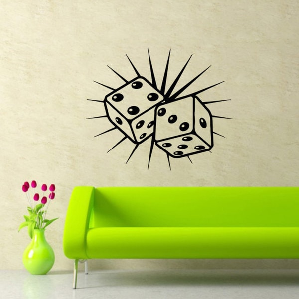 Dices Casino Black Vinyl Sticker Wall Art