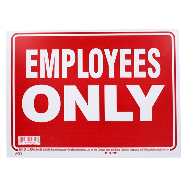 Bazic Small Employees Only Sign