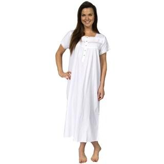 Leisureland Women's Cotton Short Sleeve Lace Victorian Nightgown