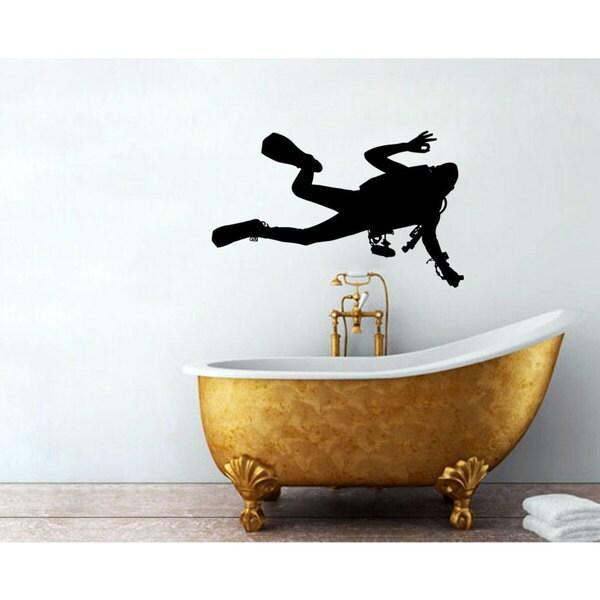 Scuba Diver Black Sticker Wall Art