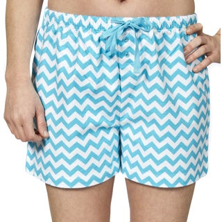 Leisureland Women's Cotton Pajama Flannel Boxer Shorts Chevron Design