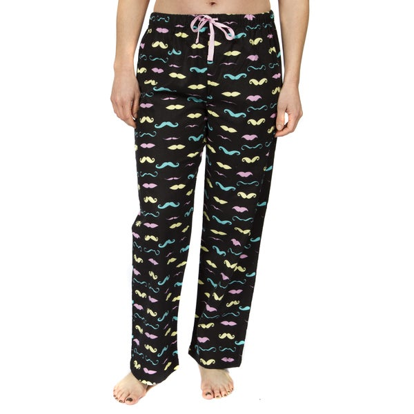 Leisureland Women's Cotton Flannel Pajama Pants Mustache Print