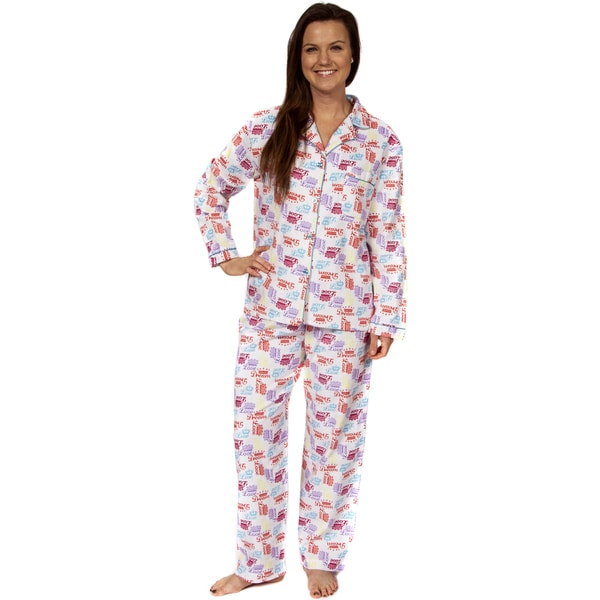 Leisureland Women's Cotton Flannel Pajama Set Crown of Love
