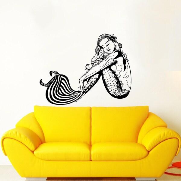 Dreaming Mermaid Black Vinyl Sticker Wall Art