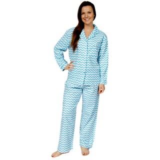 Leisureland Women's Cotton Flannel Pajama Set Chevron