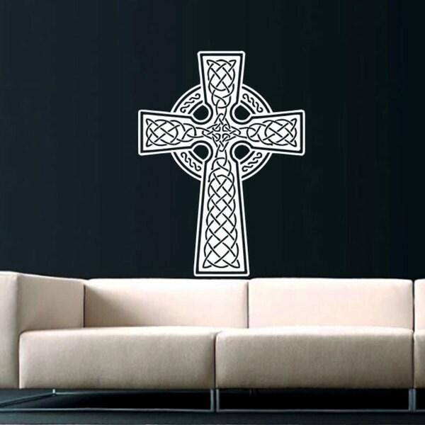 Celtic Cross White Vinyl Sticker Wall Art