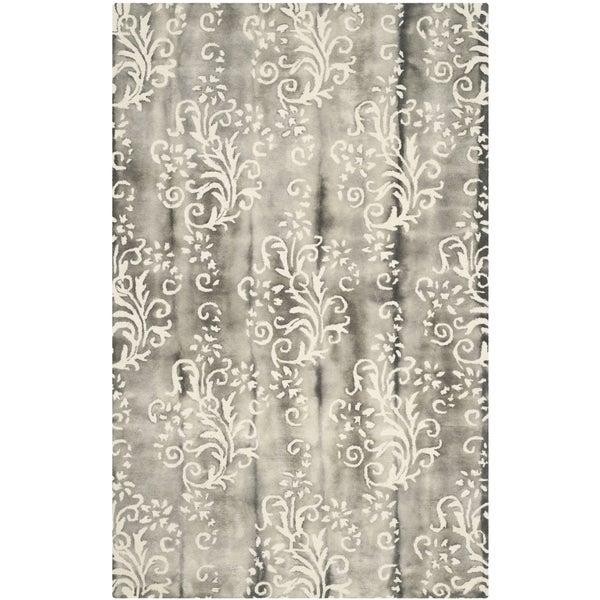Safavieh Handmade Dip Dye Grey/ Ivory Wool Rug (5' x 8')