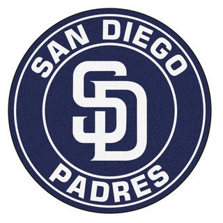 Fanmats MLB San Diego Padres Navy and White Nylon Roundel Mat (2'3 x 2'3)
