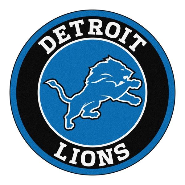 Fanmats Nfl Detroit Lions Blue And Black Nylon Roundel Mat
