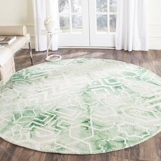 Green Shagadelic Chenille Twist Swirl Rug 5 Round