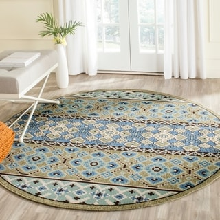 Safavieh Indoor/ Outdoor Veranda Green/ Blue Rug (6'7 Round)