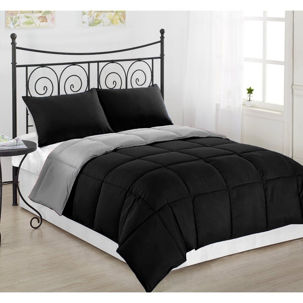 Ultra Soft And Cozy Black Grey Reversible Hypoallergenic