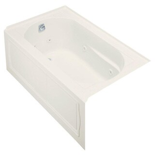 Kohler Devonshire Bubblemassage 5-Foot Right-hand Drain Integral Apron Bathtub with Heater in Almond