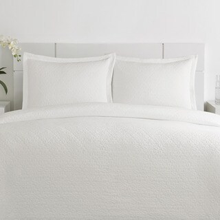 Vera Wang Love Knots Matelasse White Cotton 3-piece Coverlet Set