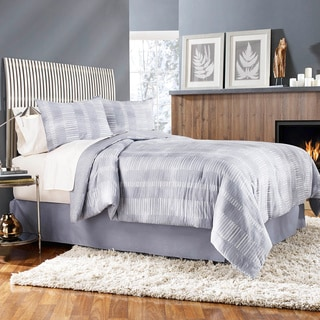 Grove Hill Grid Work Cotton 4-piece Comforter Set
