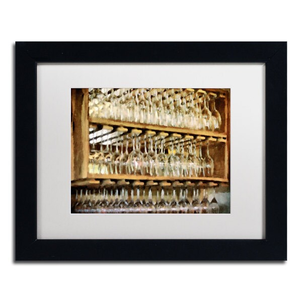 Lois Bryan 'Drinks on the House in Gold Tone' Black Framed Canvas Art