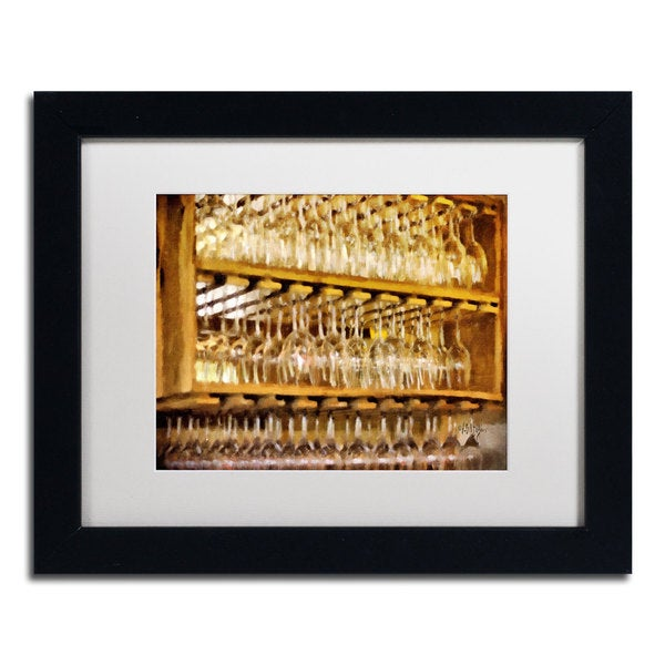 Lois Bryan 'Drinks on the House in Warmest Gold' Black Framed Canvas Art
