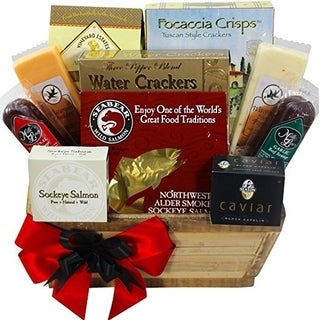 Art of Appreciation Meat and Cheese Lovers Gourmet Food Gift Basket with Smoked Salmon