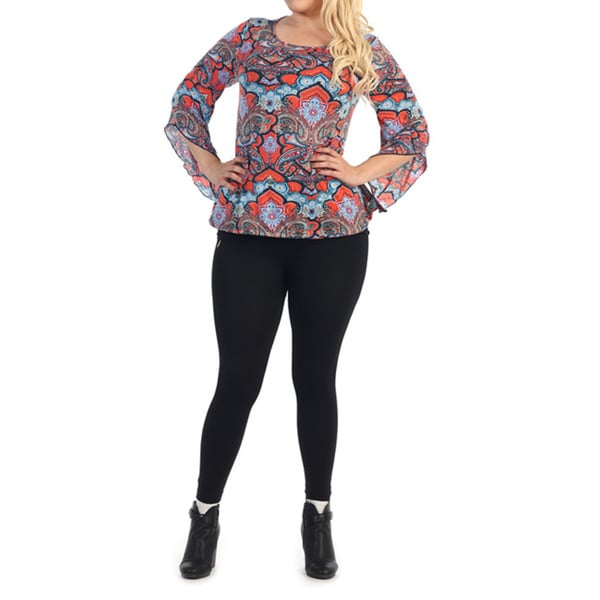 Women's Plus Size Stylish Flared-Sleeve Top