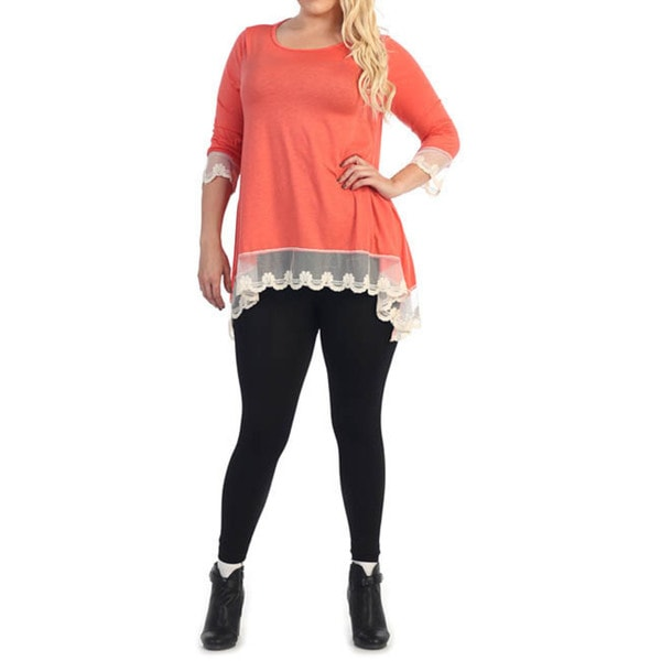 Women's Plus Size Lace Trim Top