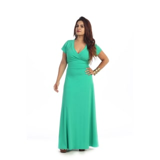 Women's Plus Size Short Sleeve Faux Wrap Maxi Dress