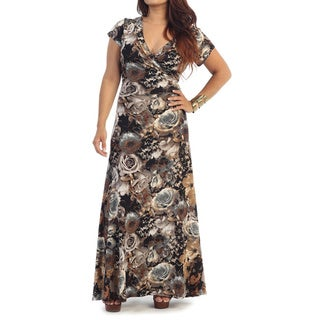 Women's Plus Size Maxi Roses Dress