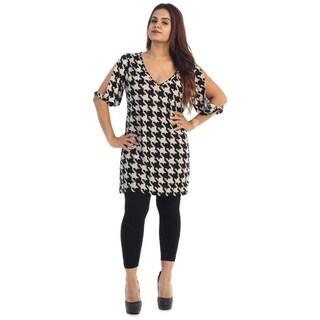 Women's Plus Size Short Houndstooth Dress