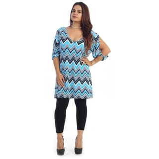 Women's Plus Size Short Chevron Dress