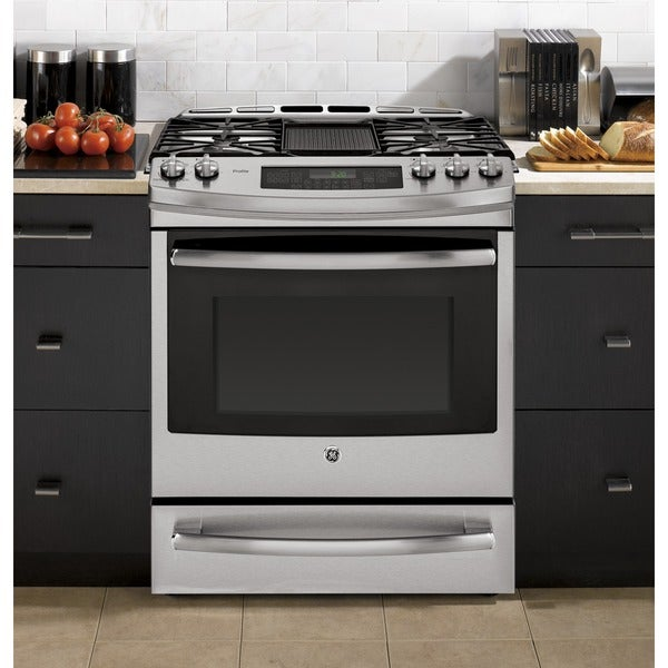 GE Profile Series 30-inch Slide-in Gas Range with Warming Drawer