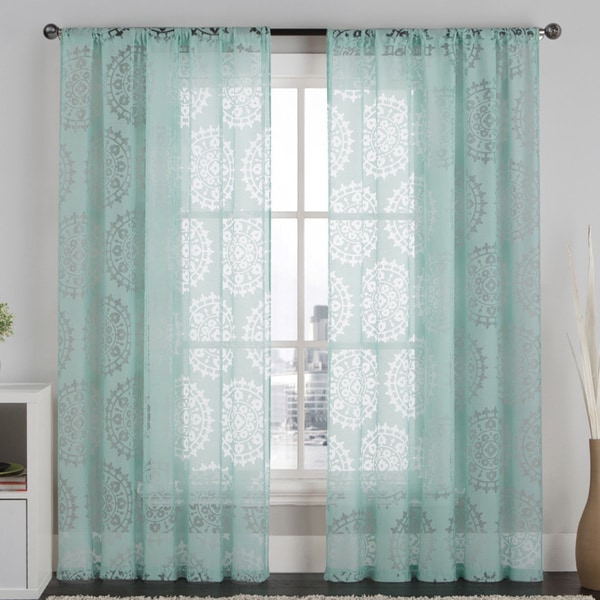 Vcny milan 84 inch burnout medallion sheer curtain panel 17427015