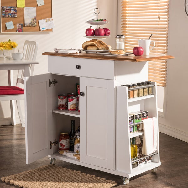 And Contemporary White Lacquered Wood Kitchen Cart Trolley Cabinet