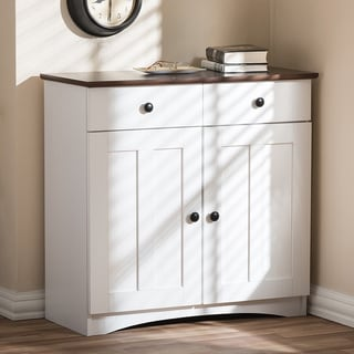 Lauren Modern and Contemporary Two-tone White and Dark Brown Buffet Kitchen Cabinet with Two Doors and Two Drawers