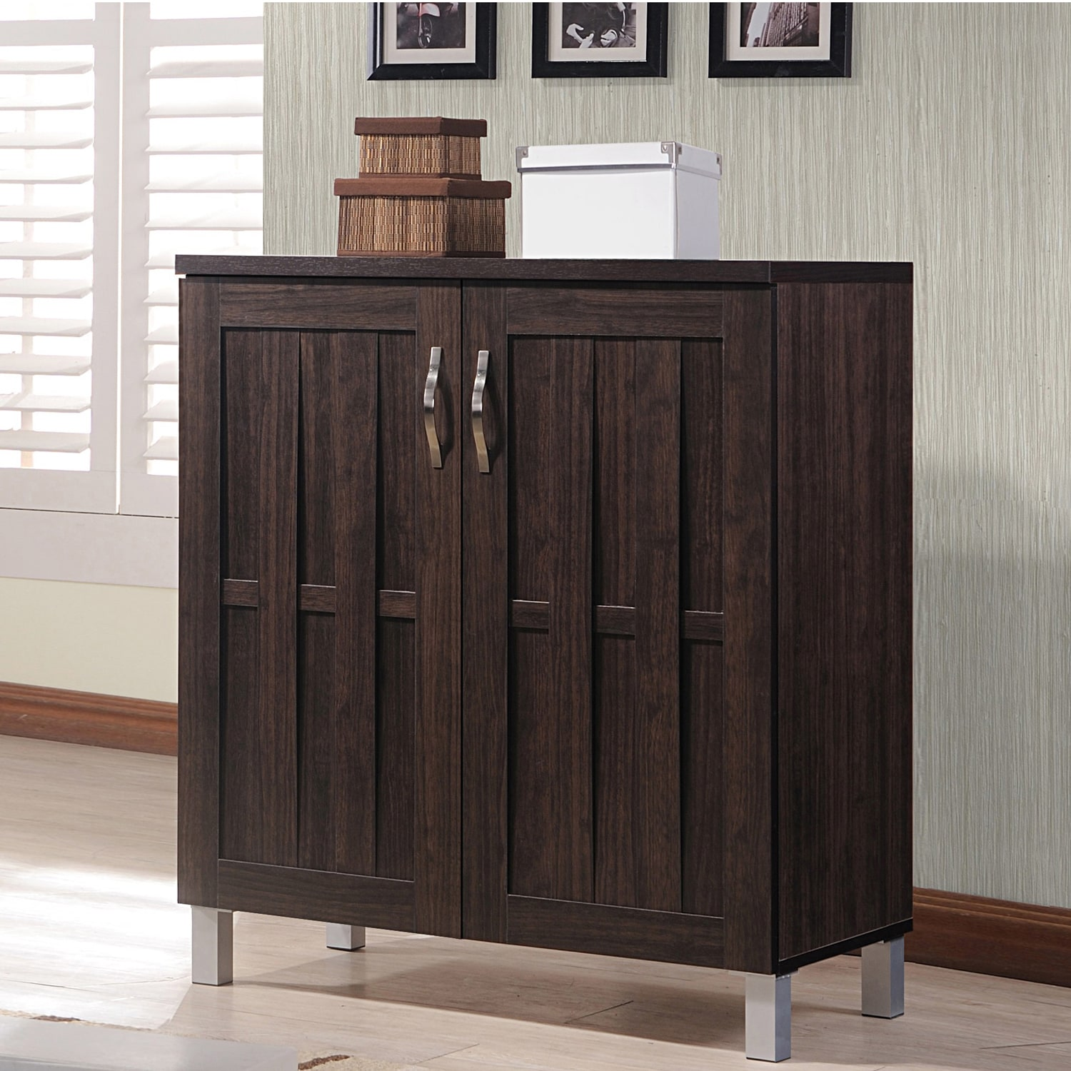 Modern Foyer Cabinet : Modern espresso storage cabinet contemporary natural look
