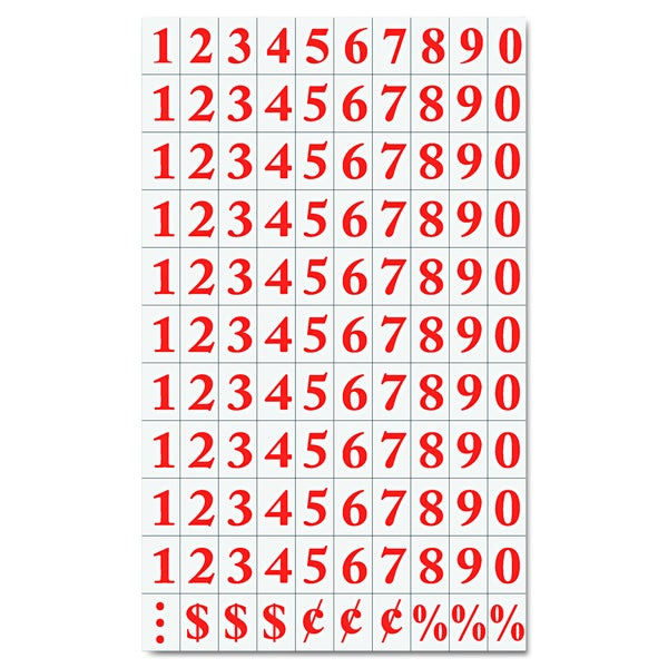MasterVision Interchangeable Red Magnetic Number Characters (Set of 110 Magnets)