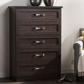 Baxton Studio Colburn Modern and Contemporary 5-Drawer Dark Brown Finish Wood Tallboy Storage Chest