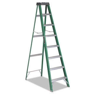 Louisville #592 Eight-Foot Green/Black Folding Fiberglass Step Ladder