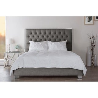 Bracco Contemporary Slate Grey Fabric Upholstered And Tufted Platform Bed With Stainless Steel Frame