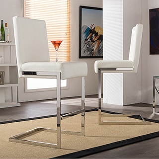 Set of 2 Boyle Contemporary White PU Leather Upholstered Armless Bar Stools With Stainless Steel Base
