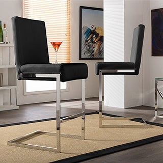 Set of 2 Boyle Contemporary Black PU Leather Upholstered Armless Bar Stools With Stainless Steel Base