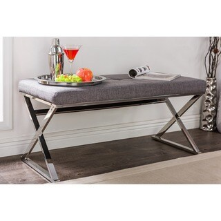 Benoit Contemporary Slate Grey Fabric Upholstered Bench With Stainless Steel Legs