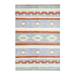 Herat Oriental Afghan Hand-knotted Tribal Vegetable Dye Gabbeh Blue/ Ivory Wool Rug (3'11 x 5'10)