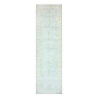 Herat Oriental Afghan Hand-knotted Vegetable Dye Oushak Light Blue/ Ivory Wool Rug (4' x 14'5)