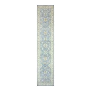 Herat Oriental Afghan Hand-knotted Tribal Vegetable Dye Oushak Light Blue/ Ivory Wool Rug (4' x 19'11)
