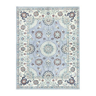 Herat Oriental Afghan Hand-knotted Tribal Vegetable Dye Oushak Light Blue/ Ivory Wool Rug (3'11 x 5'2)