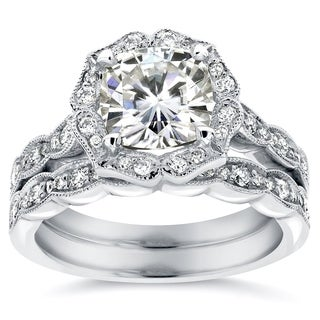 Annello 14k White Gold Cushion-cut Moissanite and 2/5ct TDW Diamond Floral Antique Bridal Rings Set (G-H, I1-I2)