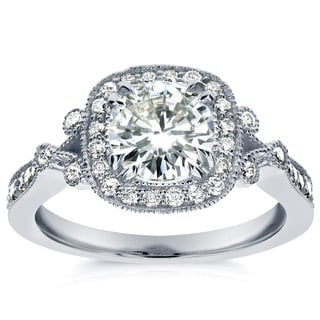 Annello 14k White Gold Round-cut Moissanite and 2/5 ct TDW Diamond Vintage Halo Engagement Ring (G-H, I1-I2)